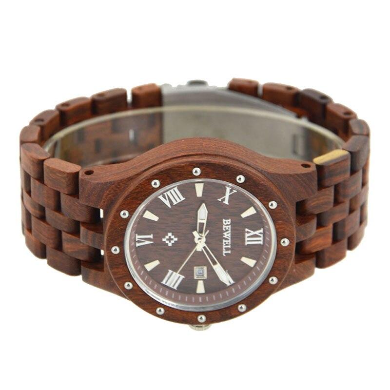 eb4ac3aa135a BEWELL Reloj de Madera Roja Para Hombre Relojes de Primeras Marcas de Lujo Reloj  Hombres de Lujo Masculino Relojes de Lujo de Cuarzo Analógico Reloj ...