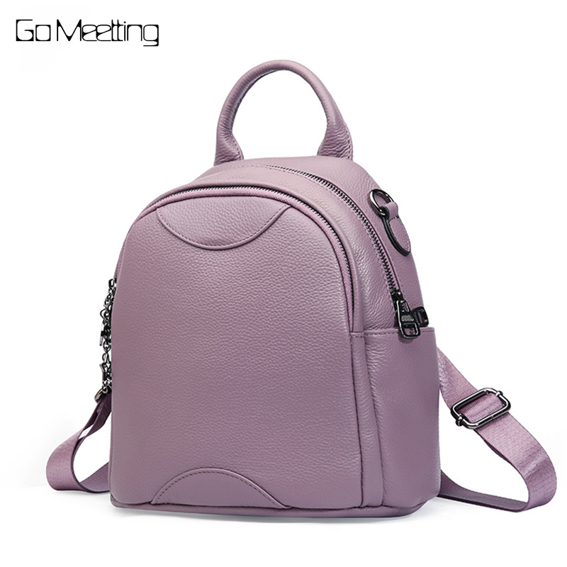 Go Meetting fashion women backpack female genuine leather backpacks for girls teenagers schoolbag small ladies shoulder bag go meetting brand fashion women backpacks soft washed leather bag schoolbags for girls leisure bag mochilas travel backpack