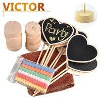 A forma di Cuore di legno Lavagne con gessetti kit per numero di Tabella del Supporto del basamento Da Sposa buffer Lavagna segni Decorazioni Del Partito