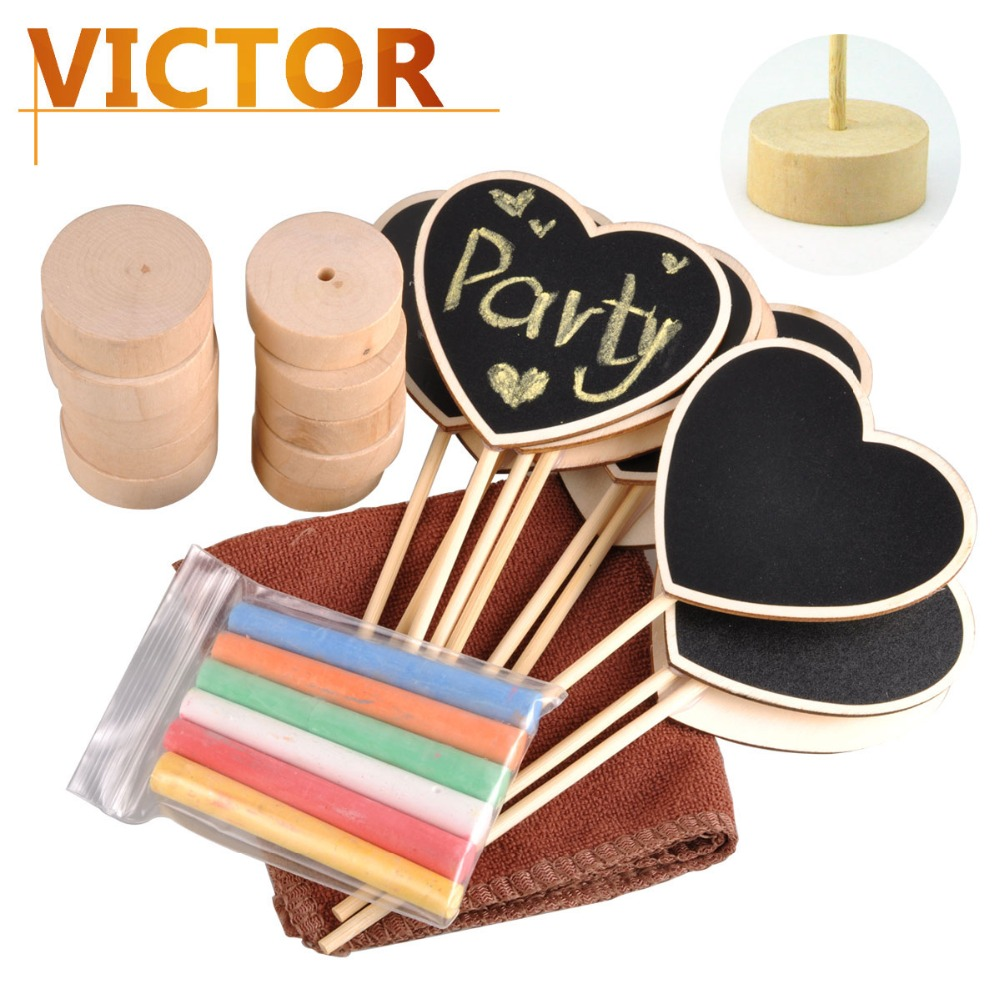 Wooden Heart-shaped Blackboards with chalks kit for Table number stand Holder Wedding buffer Chalkboard signs Party Decorations