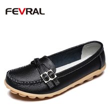 FEVRAL 새로운 정품 가죽 여성 편안한 캐주얼 신발 패션 통기성 부드러운 여성의 플랫 여성 Moccasins 크기 35 42