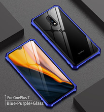 One Plus 7 Pro Case Metal Bumper Frame with Clear Tempered Glass Back Cover Hard Case for Oneplus 7 Pro Oneplus7 Aluminum Bumper