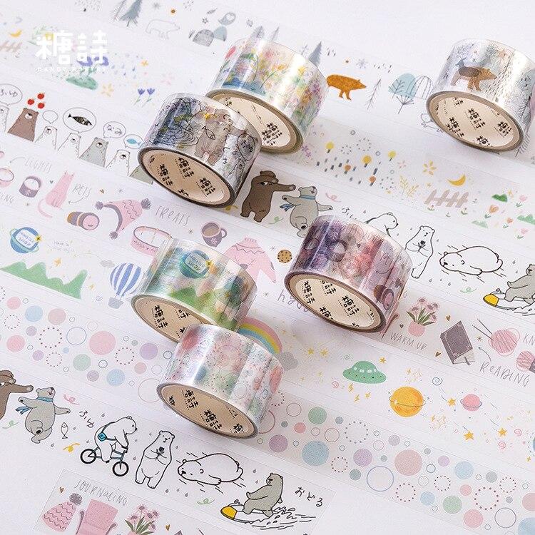 JIANWU 25mm*3m Cute Washi Tape Bear Bubble Masking Tape Scrapbooking Basic Decor Sticker For The Diary Bullet Journal Parts