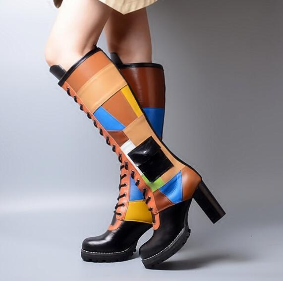 high quality knee high chunky heel platform lace up boots colorful leather chunky high heel knee high lace up boots