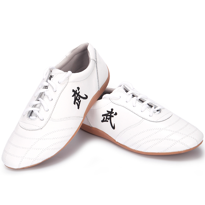 Pure Leather Tai Chi Shoes Wushu Kung Fu Shoes Unisex white red black Cosplay Costumes