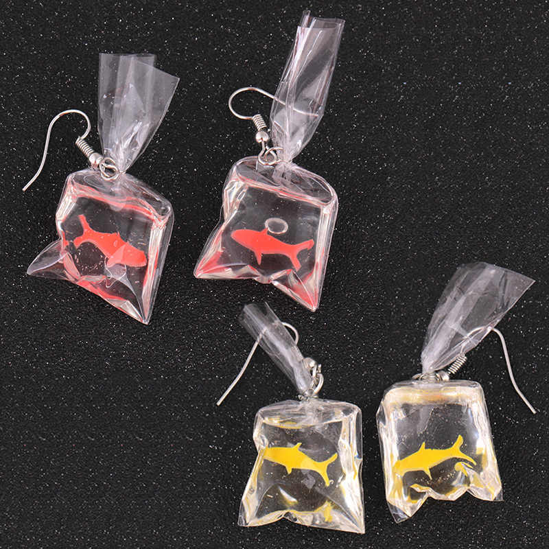 Hot Sale 1Pair Beautiful Drop Earring Animal Yellow Transparent Bag Gifts Red Unique Goldfish Dangle Fish Resin Novel Earring