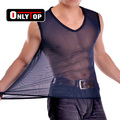 Transparent gauze vest male viscose breathable ultra-thin transparent male singlet undershirt sexy men underwear