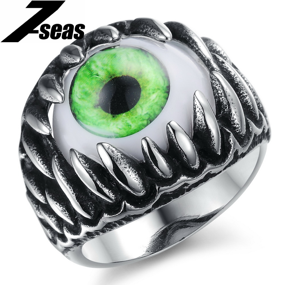 Gothic EU Punk Style Blue / Green Eyes Ring Popular Special Opal Ring HotTrendy Men Accessory