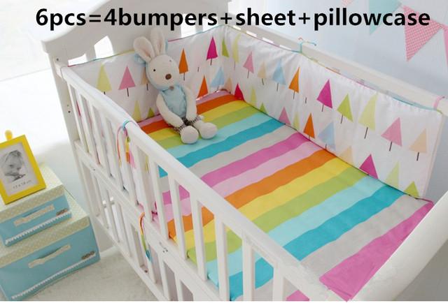 ¡ Promoción! 6 UNIDS Al Por Mayor y Al Por Menor de Niños Cuna, Juegos de Cama de Bebé Accesorios para la Cama (bumpers + hojas + almohada cubierta)