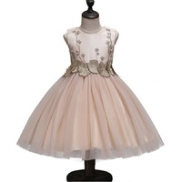 Summer Girl Sweet Dress 4 12 Yrs Princess Dresses Wedding Gold Line Embroidered Flowers Formal Girl