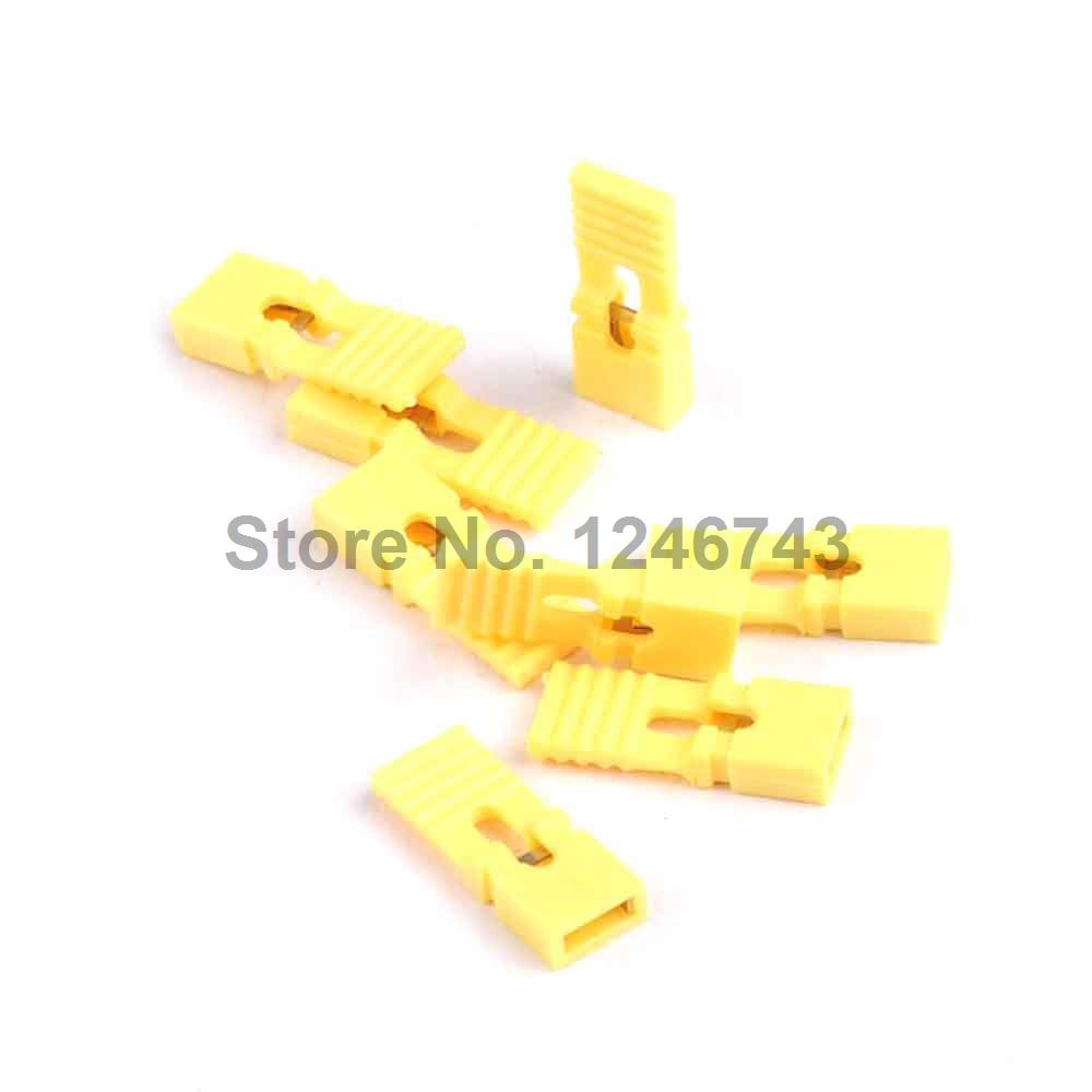 100PCS 2.54MM Long Jumper Cap Long Handle Jumper Cap Yellow
