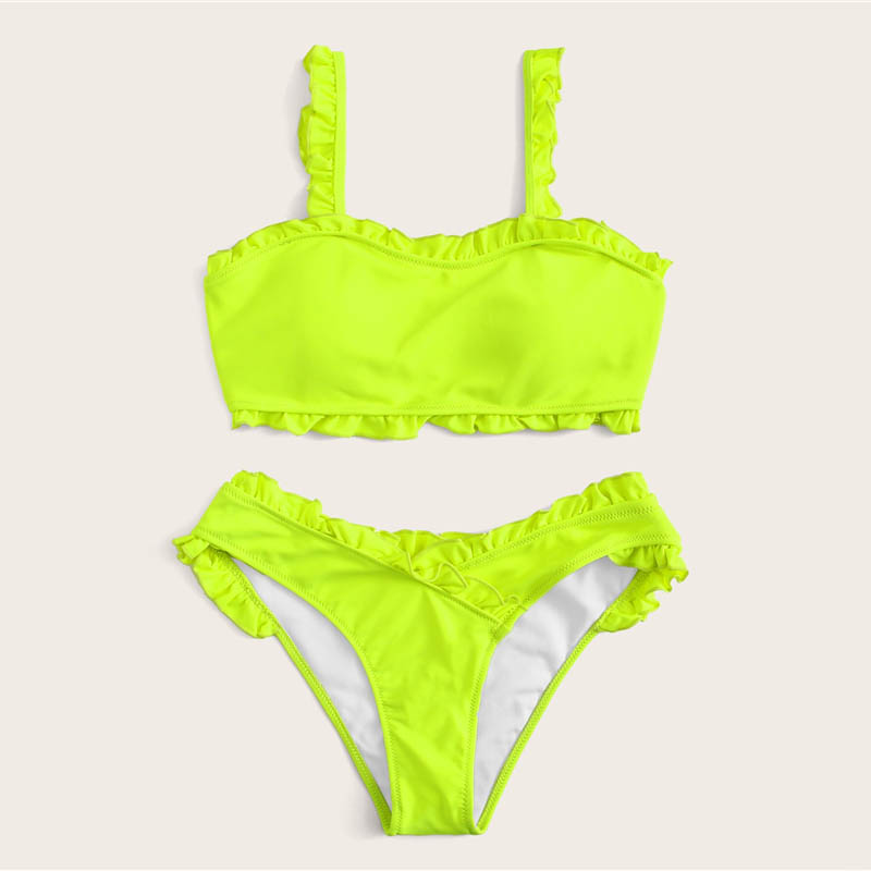 Frill Trim Top With Wrap Bikini 34