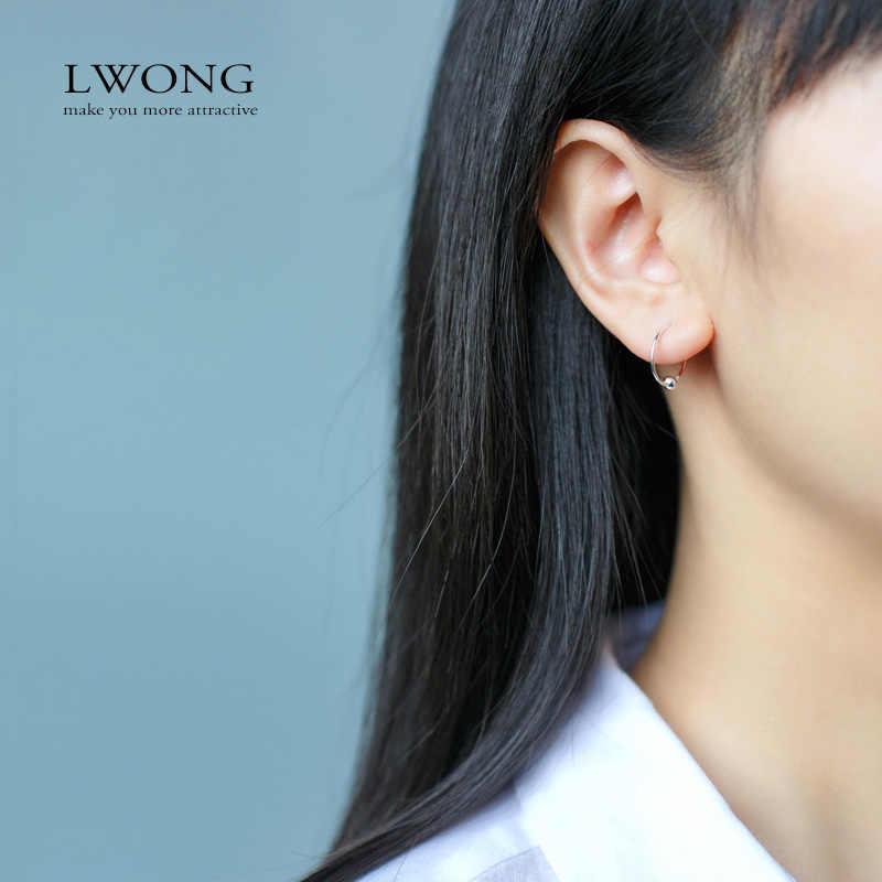 Lwong minimalista orelha piercing tragus helix cartilagem brincos 925 sterling sliver minúsculo bola huggie hoop brincos 8mm 10mm 12mm