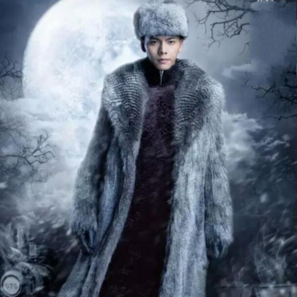 Мужское кожаное пальто, модное длинное пальто с мехом, для зимы, 2020
