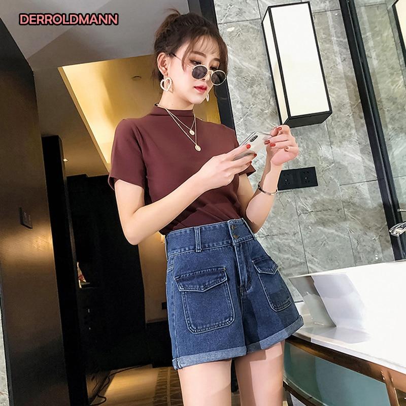 Summer Women Short Pants Washed Straight Denim High Waist Jeans Women With Cuffs Pocket Zipper Button