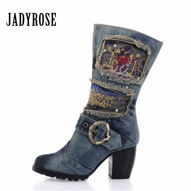 Jady Rose Crystal Winter Warm Boots Women Platform Chunky High Heel Botas Mujer Denim Boot Martin Boots Jean Shoes Woman Size 42 fashion genuine leather boots zapatos mujer straps women mid calf botas mujer shoes woman chunky high heel martin boot