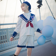 summer lolita original boy Lolita dress sailing-Atlantis navy sailor style kawaii blouse shorts shirt badge cosplay