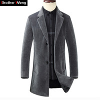 2019 Winter Clothing New Men Long Faux Fur Warm Jacket Fashion Casual Suit Collar Thick Coat Male Overcoat Brand Clothes
