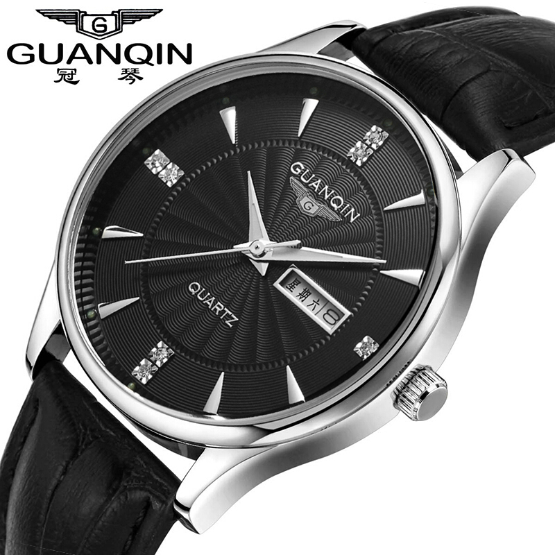 ФОТО 2017 New Luxury Watch Brand GUANQIN Quartz Watch Men Steel Fashion Clock Male Waterproof Watches Complete Calendar