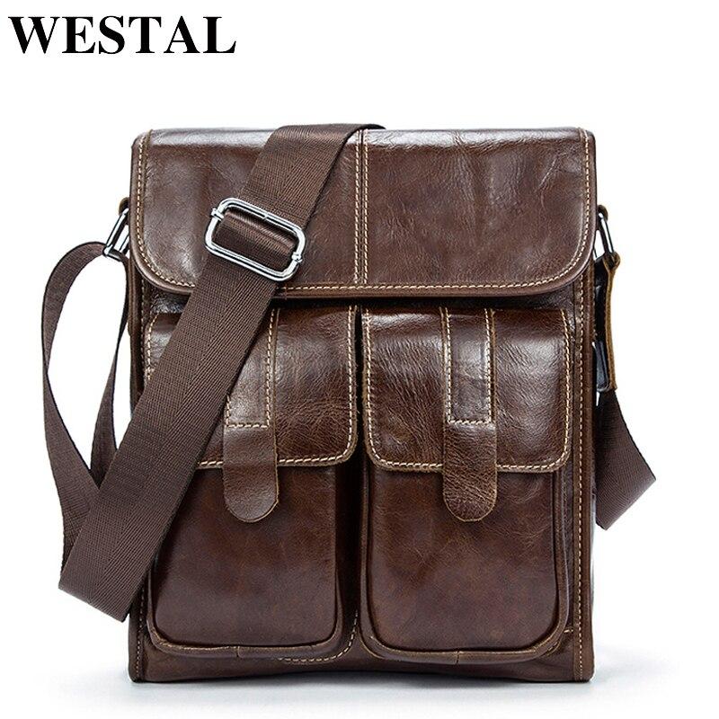 WESTAL Men's Genuine Leather Bags Messenger Bag Men Leather Bag Male Small Men's Shoulder/Crossbody Bags For Men Handbags 366
