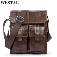WESTAL Genuine Leather bag men bags Men Messenger Bags male small flap Vintage Leather shoulder crossbody bags for man 366