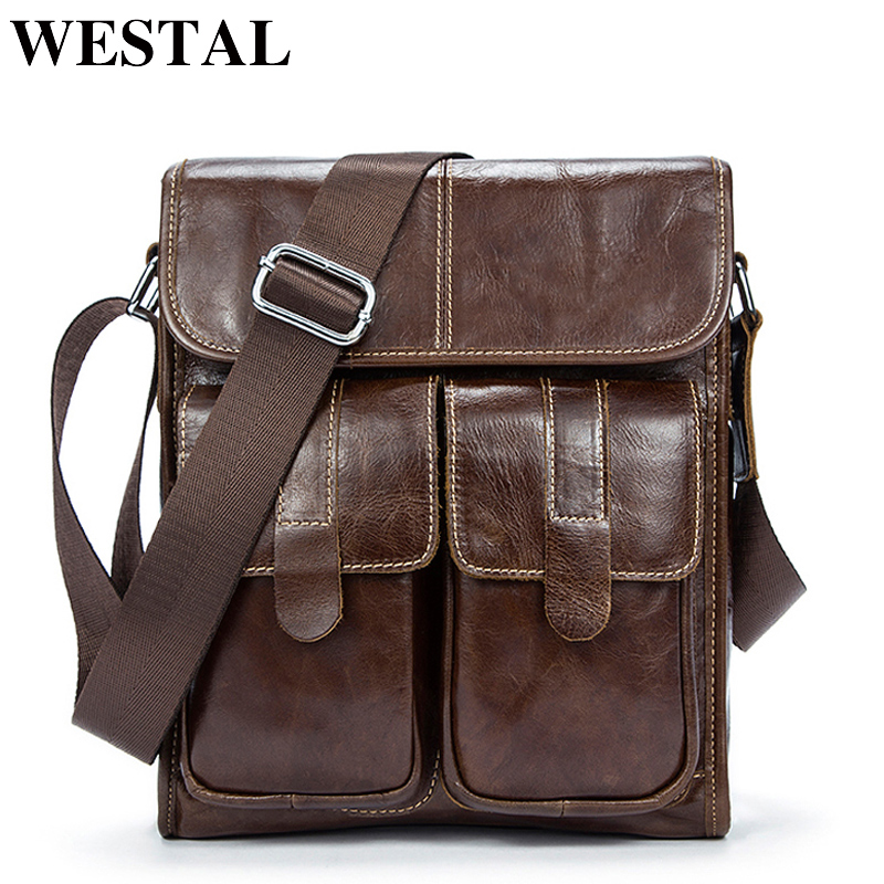 WESTAL Men's Bags Genuine Leather Men's Shoulder Bags For Men Crossbody Messenger Bag Men Leather Bag Male Flap Handbags 366