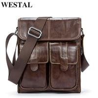 WESTAL Men's Genuine Leather Bags Messenger Bag Men Leather Male Bag Small flap Men's Shoulder/Crossbody Bags for Man 366