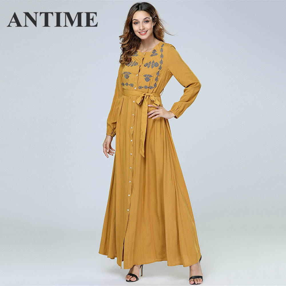 ANTIME Casual Maxi Dresses Women New Streetwear O-Neck Autumn Winter Button Sashes A-Line Long Sleeves Elegant Gold Dress 2