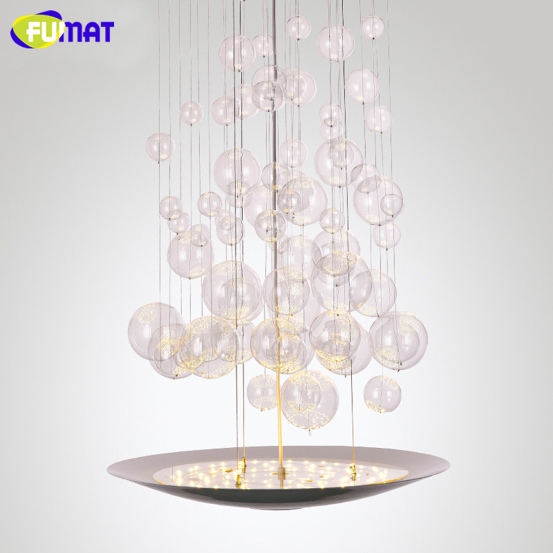 fumat stairs chandelier modern led bubble light fixtures designer hotel hanging lamps dinning room glass bubble - Bubble Chandelier