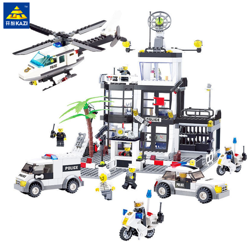 KAZI Police Station Trucks Helicopter Building Blocks Set Compatible Legoed City DIY Construction Bricks Toys for Children Boys yobang security wireless home alarm wifi app control gsm sms burglar security alarm system outdoor ip camera solar power siren