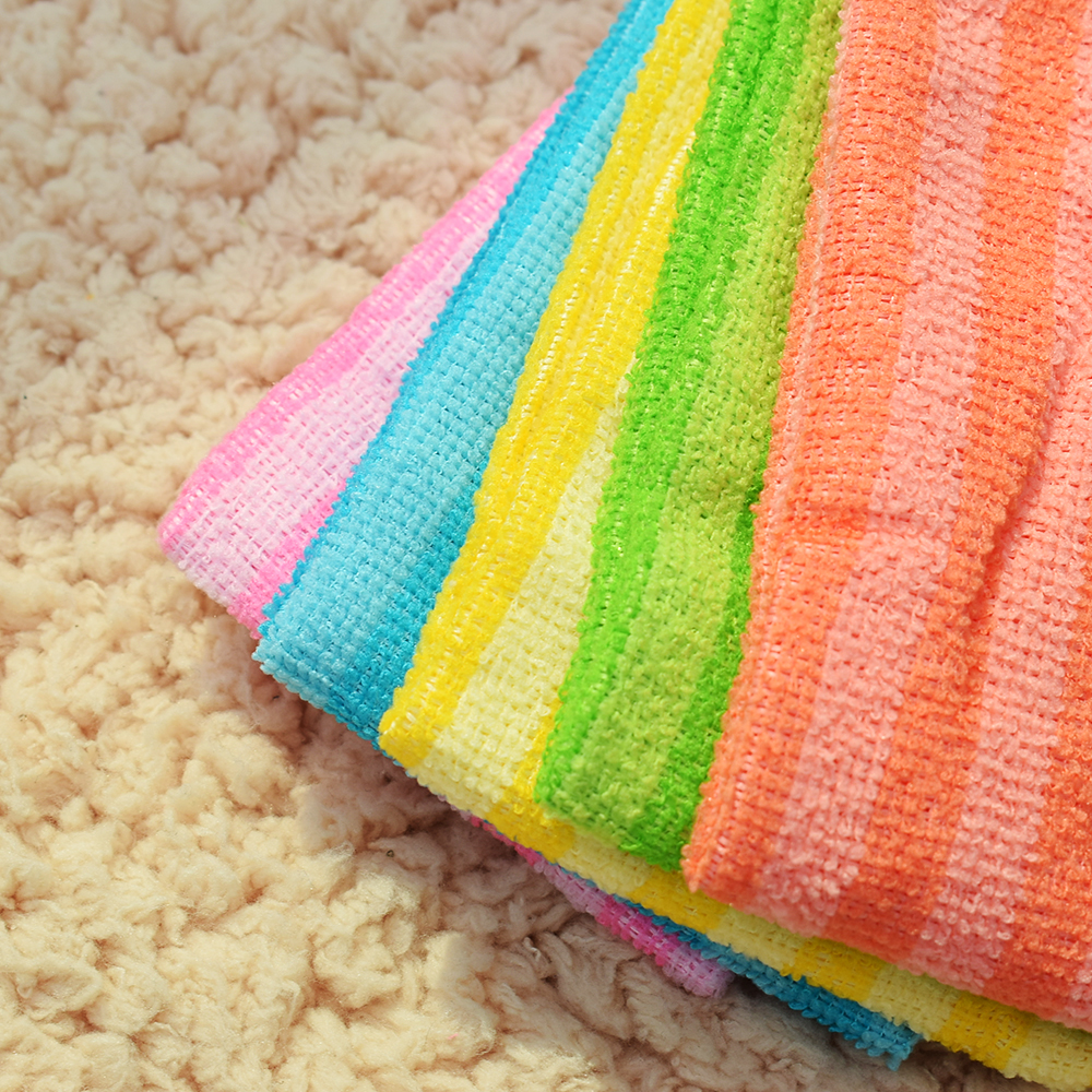 5Pcs High Efficient Anti-grease Dish Cloth Bamboo Fiber Washing Towel Magic Kitchen Cleaning Wiping 2