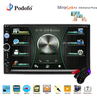 Podofo 2 din Car Radio 7 HD Autoradio Multimedia MP5 Player Bluetooth 2din Car Stereo Rear View Camera ISO Android Mirror Link
