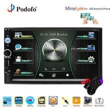 """Podofo 2 din Auto Radio 7 """"HD Autoradio Multimedia MP5 Lettore Bluetooth 2din Car Stereo Videocamera vista posteriore ISO Android Specchio link"""