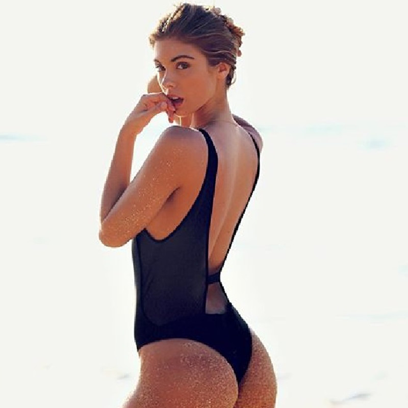6d3742eac2c Thong One Piece Swimwear Women 2018 Front Zipper Sexy Black Monokini  Swimsuits High Cut Outs Bathing Suit Maillot De Bain S-XL