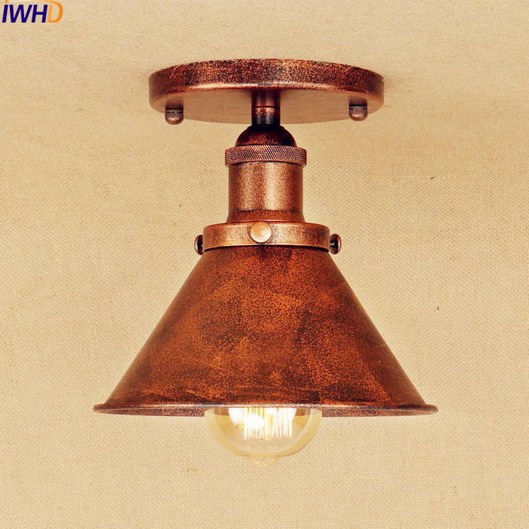 IWHD Ameican Rust Edison LED Ceiling Lights Fixtures Living Room Lamp Flush Mount Industrial Ceiling Light Luminaire Lighting все цены