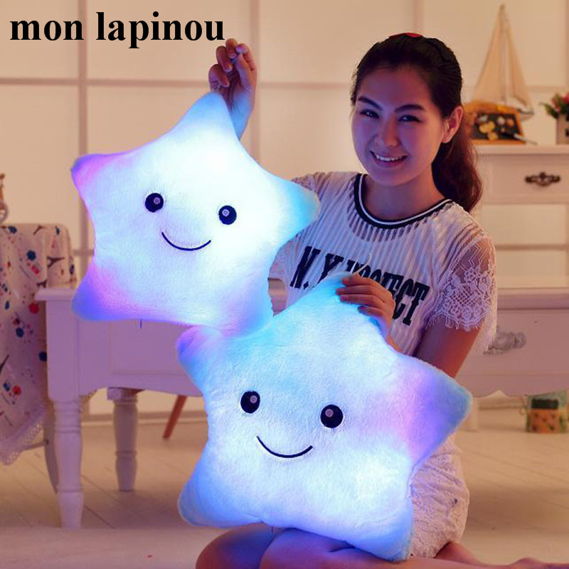 Mon Lapinou 35cm/40cm Led Light Star Pillow Kids Cute Star Luminous Throw Pillow With Colorful Light Child/girls Christmas Gift image