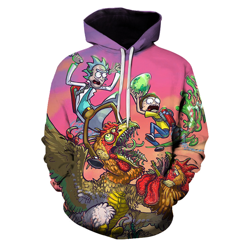 High-quality Men's Casual 3D Printing Matching Hoodies Interesting Rick and Morty Funny Adventure High Street Sweatshirt