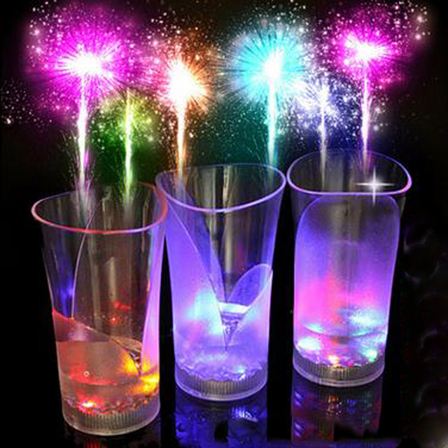 1pcs Glow In The Dark Toys Led Luminous Wine Glass Cup Induced