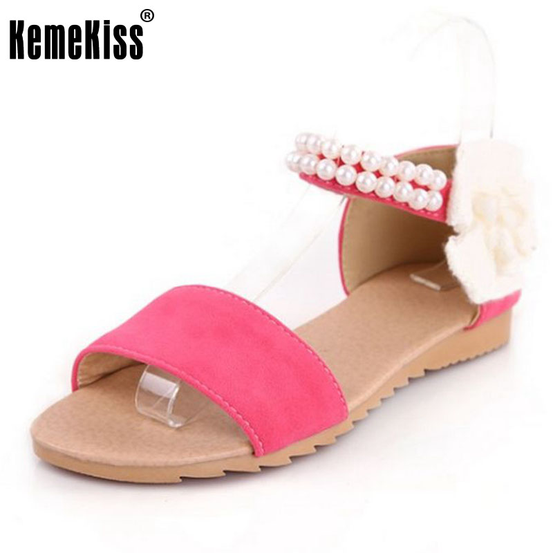 Size 34-43 Women Flat Sandals Fashion Bohemia Beade Ankle Strap Flower Summer Shoes Open Toe Flats Heel Female Sandals PA00256 women flat sandals fashion ladies pointed toe flats shoes womens high quality ankle strap shoes leisure shoes size 34 43 pa00290