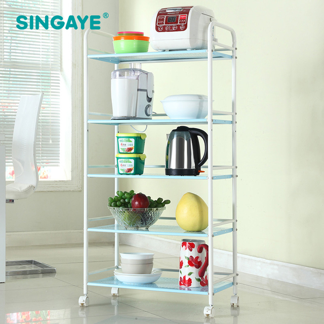 Genial SINGAYE DIY Five Layers Removable Storage Rack Shelf With Wheels Bathroom/ Kitchen/Refrigerator Side
