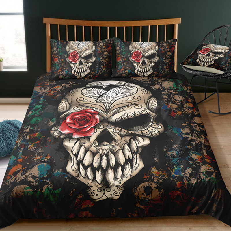 Fanaijia 3d Sugar Skull Bedding Set Luxury Skull Duvet Cover Set Bed Bedline Full Size Bed Set  Microfiber FabricFanaijia 3d Sugar Skull Bedding Set Luxury Skull Duvet Cover Set Bed Bedline Full Size Bed Set  Microfiber Fabric