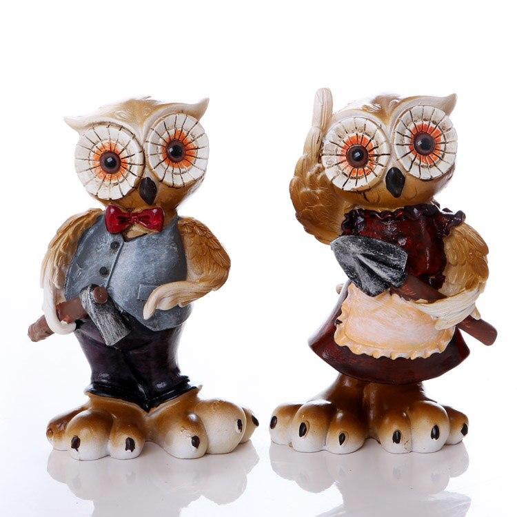 Résine européenne couple hibou ornements décorations pour la maison partition artisanat bureau petit mobilier mignon créatif