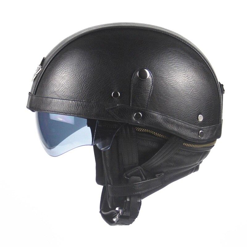 Motorcycle Motorbike Rider Half Open Face PU Leather Helmet Visor With Collar Leather vintage Motorcycle Motorbike
