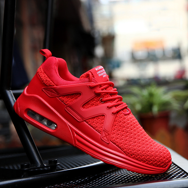 CNZLRMB Running Sneakers Mens Lace up Breathable Mesh Red Black Athletic Running Sports Shoes Men Outdoor Zapatillas Hombre ...