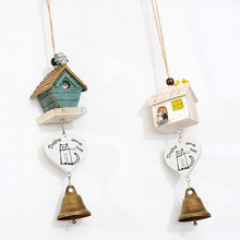 Small House Cute Cat Wind Chimes Resin Bells Vintage Decorations for Home Hanging Ornament Accessories
