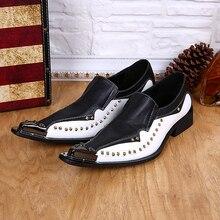Zapatos de hombre de vestir formal black white spiked steel pointed toe dress loafers shoes male men wedding office oxford shoes цена 2017