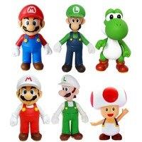 6x Super Mario Super Size Figure Collection Mario Luigi Yoshi Toad Loose Toy Free Shipping