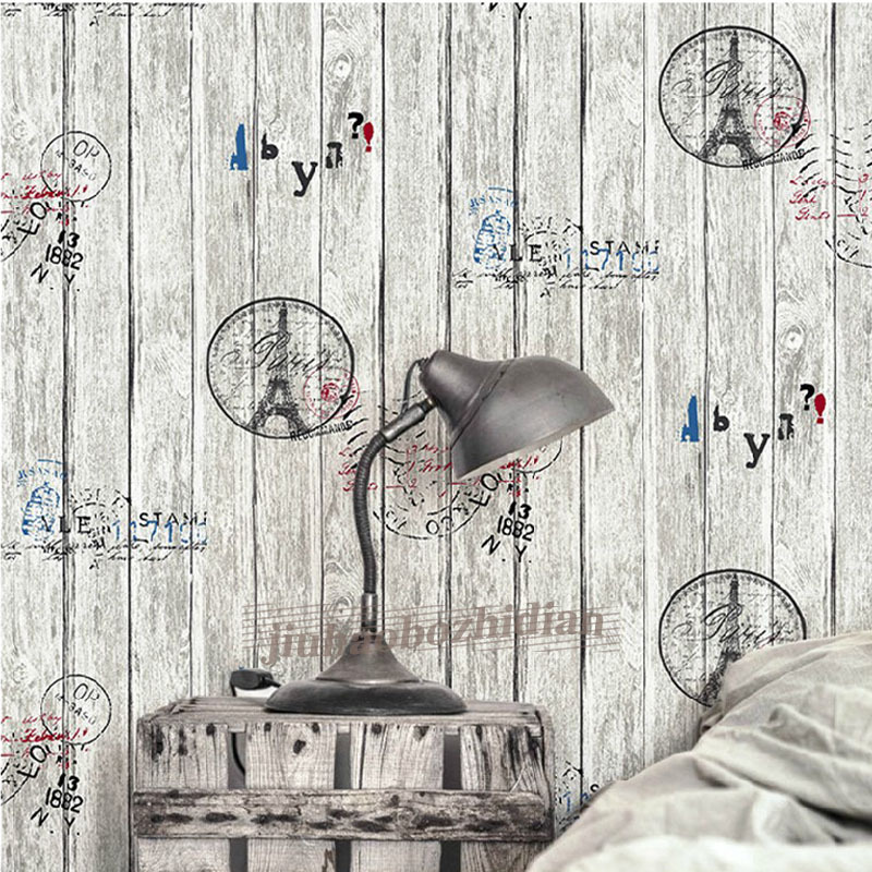 beibehang Retro nostalgia alphabet iron tower wood grain board Vinyl Wallpaper For Walls 3D Wall Paper