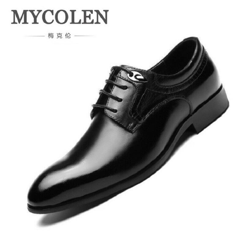 MYCOLEN Business Men Dress Shoes Genuine Leather Lace-Up Oxfords Shoes Top Quality Black Flats For Male Zapato Hombre Italiano good quality men genuine leather shoes lace up men s oxfords flats wedding black brown formal shoes