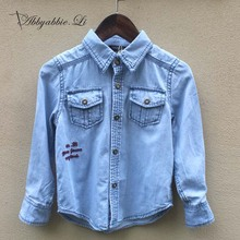 2016 New arrival Spring Autumn Fashion casual basic baby boys denim shirts easy to match children soft boys shirts #161014_h82